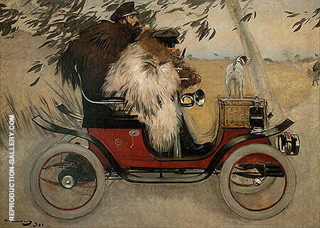 Ramon Casas and Pere Romeu in an Automobile By Ramon Casas - Oil Paintings & Art Reproductions - Reproduction Gallery