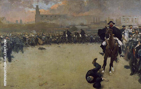 The Charge or Barcelona 1902 By Ramon Casas - Oil Paintings & Art Reproductions - Reproduction Gallery