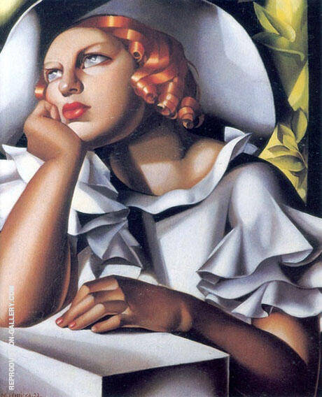 Wide Brimmed Hat By Tamara de Lempicka - Oil Paintings & Art Reproductions - Reproduction Gallery