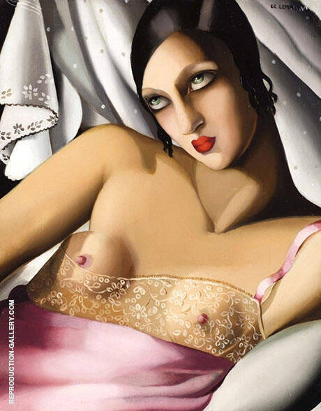 Chemise Rose By Tamara de Lempicka - Oil Paintings & Art Reproductions - Reproduction Gallery