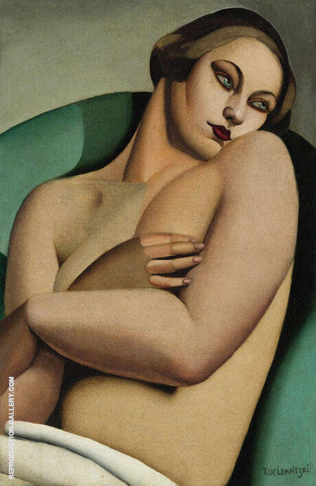 Nu Adosse By Tamara de Lempicka - Oil Paintings & Art Reproductions - Reproduction Gallery