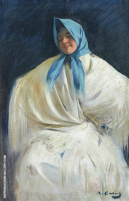 Girl with a Blue Scarf By Ramon Casas - Oil Paintings & Art Reproductions - Reproduction Gallery