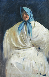Girl with a Blue Scarf By Ramon Casas