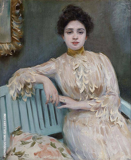 Portrait of Mercedes Llorach By Ramon Casas - Oil Paintings & Art Reproductions - Reproduction Gallery