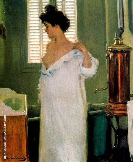 Before The Bathroom c1895 By Ramon Casas - Oil Paintings & Art Reproductions - Reproduction Gallery