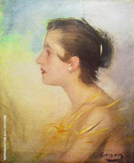 Noia De Perfil By Ramon Casas - Oil Paintings & Art Reproductions - Reproduction Gallery