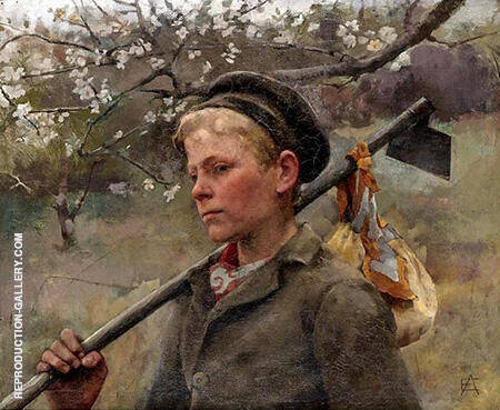 Boy with a Hoe By Elizabeth Forbes - Oil Paintings & Art Reproductions - Reproduction Gallery