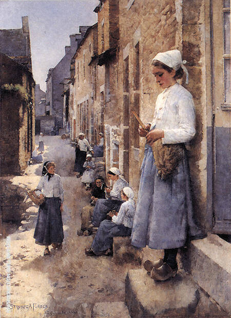 A Street in Brittany 1881 By Stanhope Forbes - Oil Paintings & Art Reproductions - Reproduction Gallery