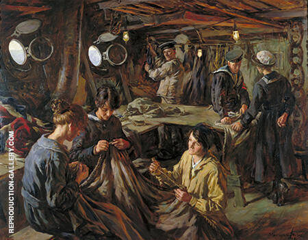 Sail Making On Board Hms Essex At Devonport 1918 By Stanhope Forbes