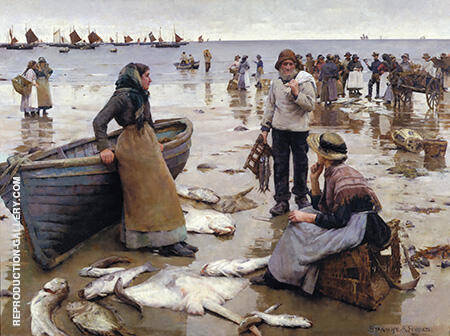 A Fish Sale on a Cornish Beach 1885 By Stanhope Forbes - Oil Paintings & Art Reproductions - Reproduction Gallery