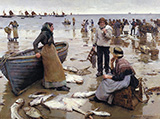 A Fish Sale on a Cornish Beach 1885 By Stanhope Forbes