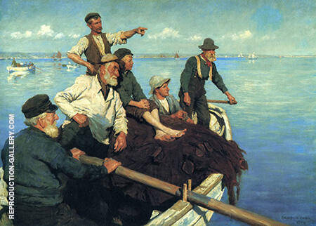 The Seine Boat 1904 By Stanhope Forbes - Oil Paintings & Art Reproductions - Reproduction Gallery