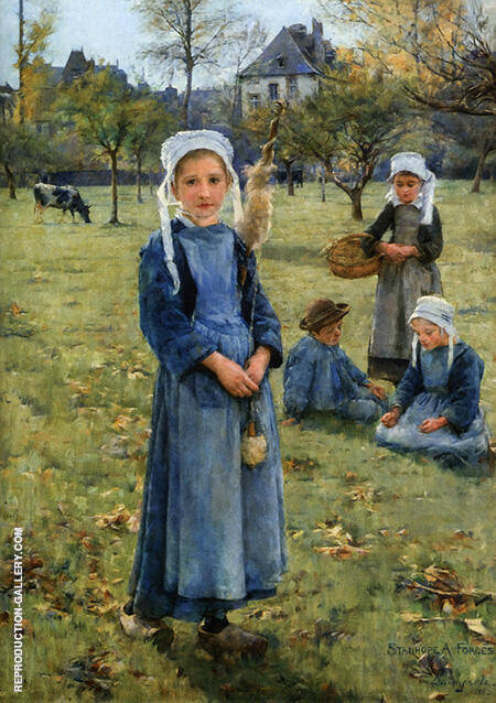 The Orchard 1882 By Stanhope Forbes - Oil Paintings & Art Reproductions - Reproduction Gallery