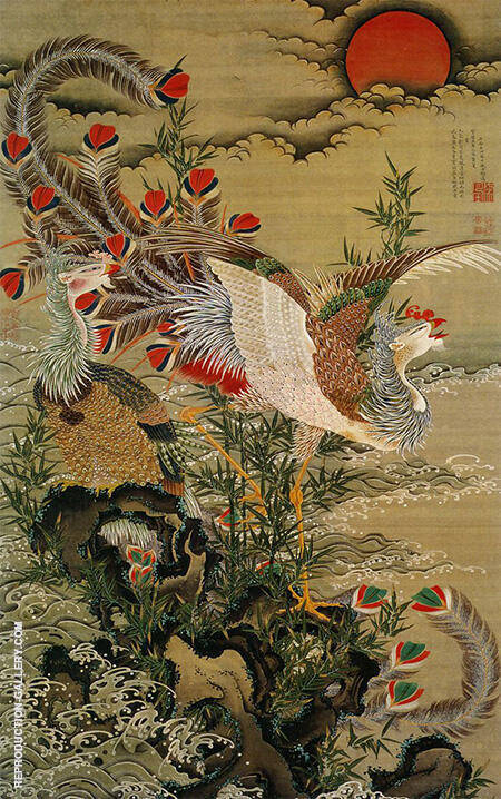 Rising Sun and Phoenix 1755 By Ito Jakuchu - Oil Paintings & Art Reproductions - Reproduction Gallery