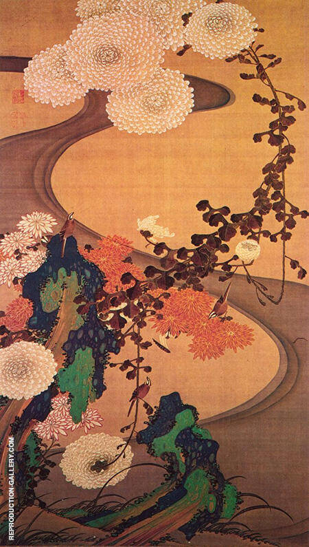 Chrysanthemums by a Stream with Rocks 1760 By Ito Jakuchu