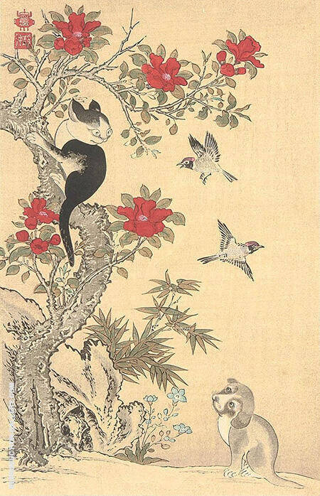 Birds, Cat and Dog By Ito Jakuchu - Oil Paintings & Art Reproductions - Reproduction Gallery