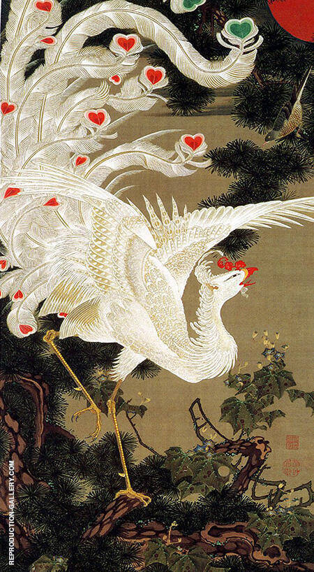 Phoenix and Pine Tree c1760 By Ito Jakuchu