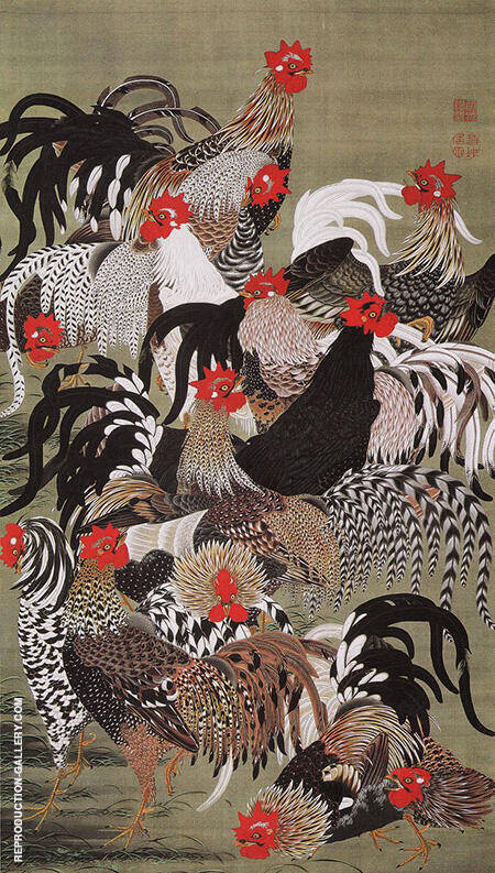 Chickens, Colorful Realm of Living Beings By Ito Jakuchu
