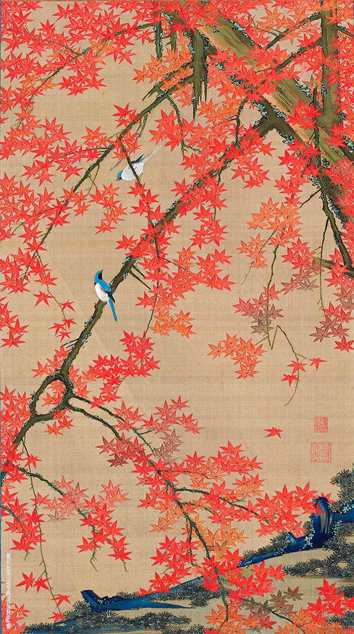 Maple Tree and Small Birds c1765 By Ito Jakuchu
