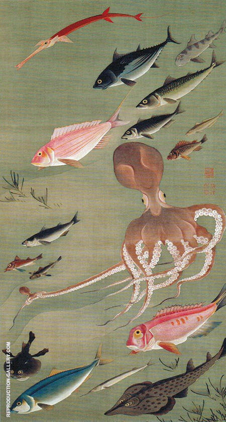 Fish from the Colorful Realm of Living Beings c1765 By Ito Jakuchu - Oil Paintings & Art Reproductions - Reproduction Gallery