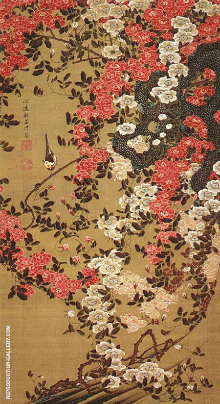 Wagtail and Roses c1757 By Ito Jakuchu