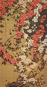 Wagtail and Roses c1757 By Ito Jakuchu