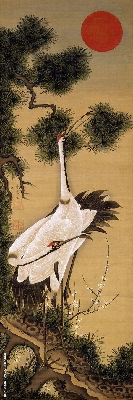 Reproduction of Pair of Cranes and Morning Sun by Ito Jakuchu | Oil Painting Replica On CanvasReproduction Gallery