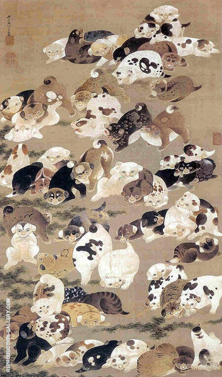 Hundred Dogs By Ito Jakuchu - Oil Paintings & Art Reproductions - Reproduction Gallery