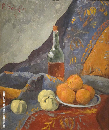 Still Life with Bottle and Fruit 1909 By Paul Serusier - Oil Paintings & Art Reproductions - Reproduction Gallery