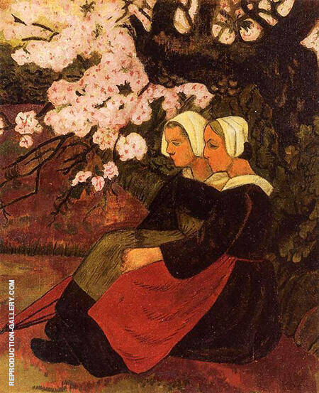 Two Breton Women Under a Flowering Apple Tree 1890 By Paul Serusier