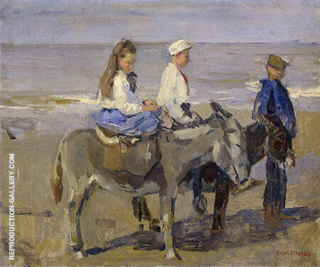 Boy and Girl Riding Donkeys c1896-1901 By Isaac Israels