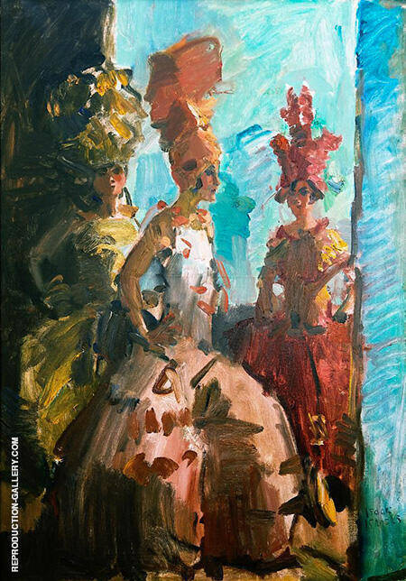 Three Dancers at the Scala Theater in The Hague By Isaac Israels - Oil Paintings & Art Reproductions - Reproduction Gallery