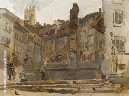 Fontaine St Anne Fribourg c1915 By Isaac Israels - Oil Paintings & Art Reproductions - Reproduction Gallery