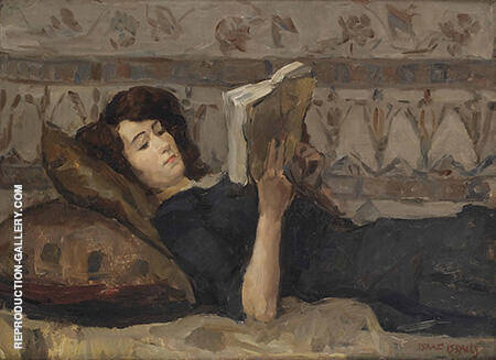 Girl Reading on a Sofa By Isaac Israels - Oil Paintings & Art Reproductions - Reproduction Gallery