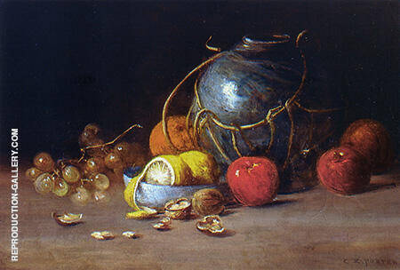 Still Life with Ginger Jar Fruit and Nuts By Charles E Porter
