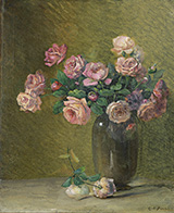 Pink Roses on a Table By Charles E Porter