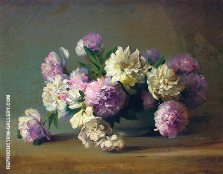 Peonies in a Bowl By Charles E Porter - Oil Paintings & Art Reproductions - Reproduction Gallery
