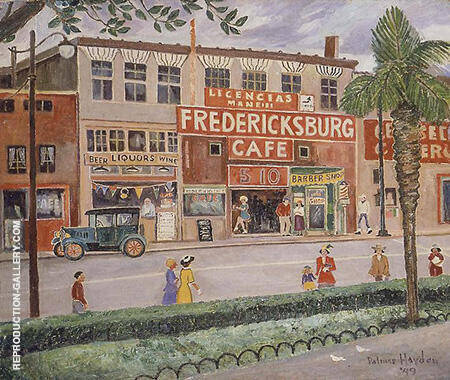 Reproduction of Fredericksburg Cafe 1949 by Palmer Hayden | Oil Painting Replica On CanvasReproduction Gallery