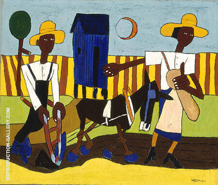 Reproduction of Sowing 1940 by William H Johnson | Oil Painting Replica On CanvasReproduction Gallery