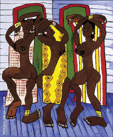 Three Dancers By William H Johnson - Oil Paintings & Art Reproductions - Reproduction Gallery