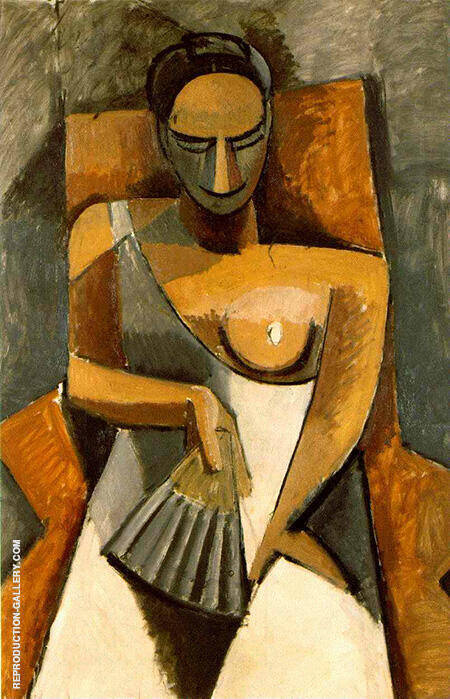 Seated Woman with a Fan 1908 By Pablo Picasso - Oil Paintings & Art Reproductions - Reproduction Gallery
