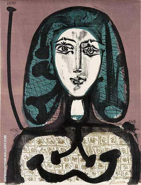 Woman with a Hairnet September 1956 By Pablo Picasso - Oil Paintings & Art Reproductions - Reproduction Gallery