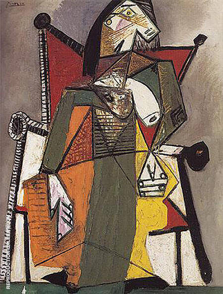 Woman Sitting in an Armchair 1941 By Pablo Picasso - Oil Paintings & Art Reproductions - Reproduction Gallery
