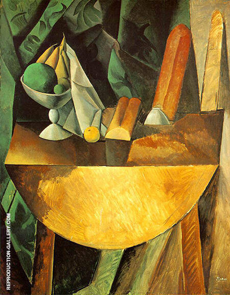 Bread and Fruit Dish on a Table 1909 By Pablo Picasso - Oil Paintings & Art Reproductions - Reproduction Gallery