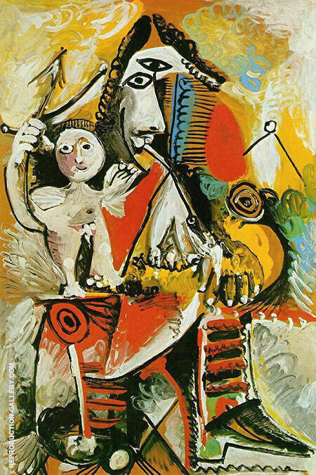 Masketeer and Cupid 1969 By Pablo Picasso - Oil Paintings & Art Reproductions - Reproduction Gallery