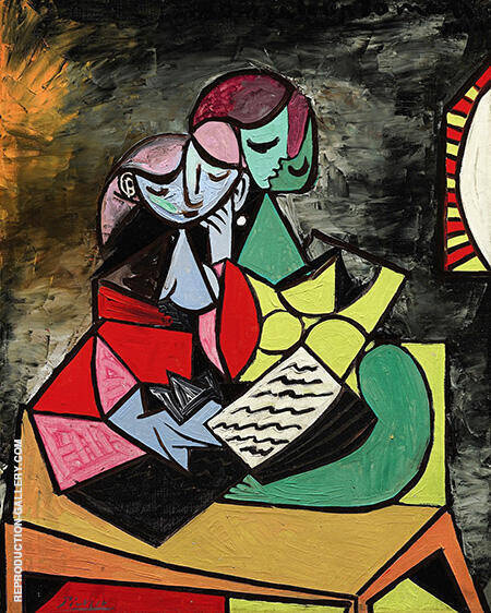 Two Figures Reading 1934 By Pablo Picasso - Oil Paintings & Art Reproductions - Reproduction Gallery