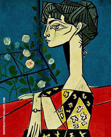 Jacqueline with flowers 1954 By Pablo Picasso - Oil Paintings & Art Reproductions - Reproduction Gallery