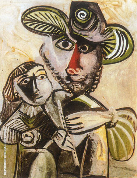 Paternite Man with Flute and Child 1971 By Pablo Picasso - Oil Paintings & Art Reproductions - Reproduction Gallery