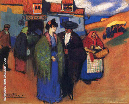 Spanish Couple in Front of an Inn 1900 By Pablo Picasso - Oil Paintings & Art Reproductions - Reproduction Gallery