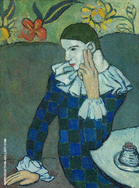 Harlequin Leaning on Elbow 1901 By Pablo Picasso